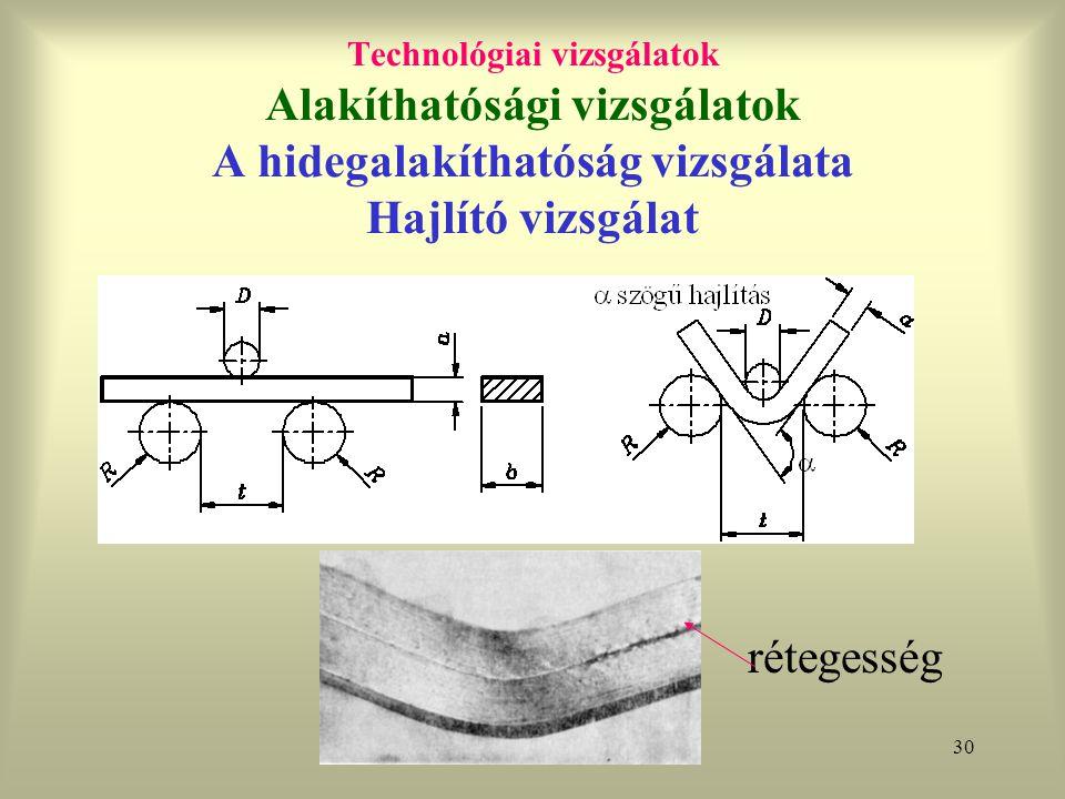 Technológiai vizsgálatok Alakíthatósági vizsgálatok A hidegalakíthatóság vizsgálata Hajlító vizsgálat