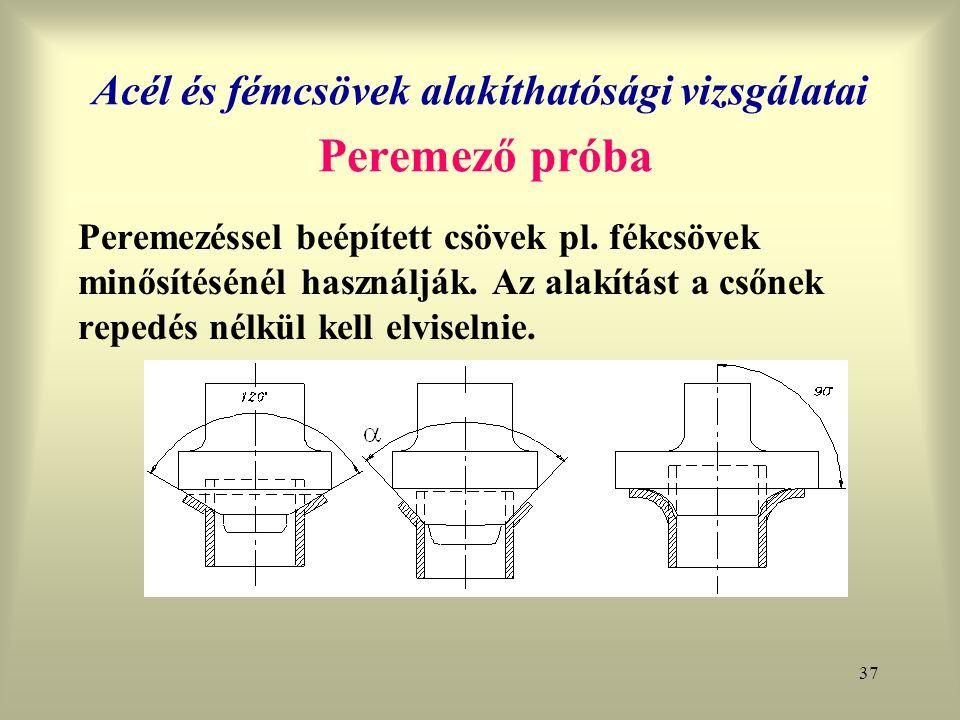 Acél és fémcsövek alakíthatósági vizsgálatai Peremező próba