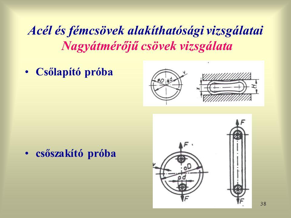 Acél és fémcsövek alakíthatósági vizsgálatai Nagyátmérőjű csövek vizsgálata