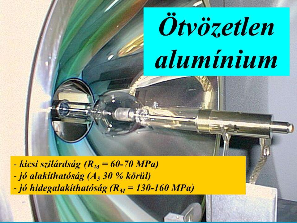 Ötvözetlen alumínium kicsi szilárdság (RM = 60-70 MPa)