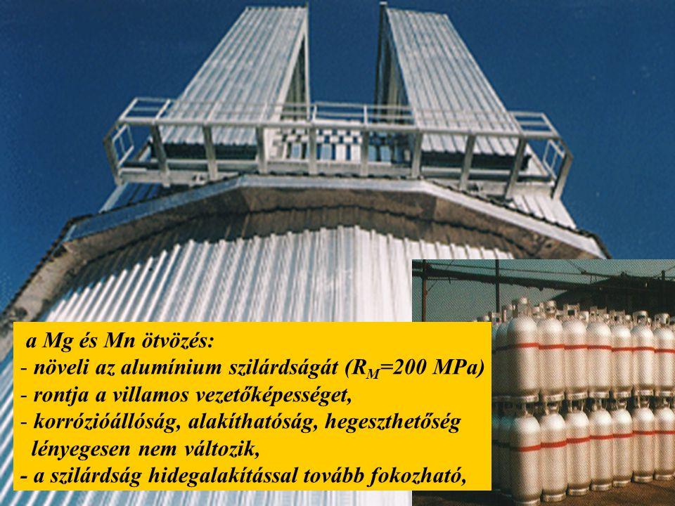 a Mg és Mn ötvözés: növeli az alumínium szilárdságát (RM=200 MPa) rontja a villamos vezetőképességet,