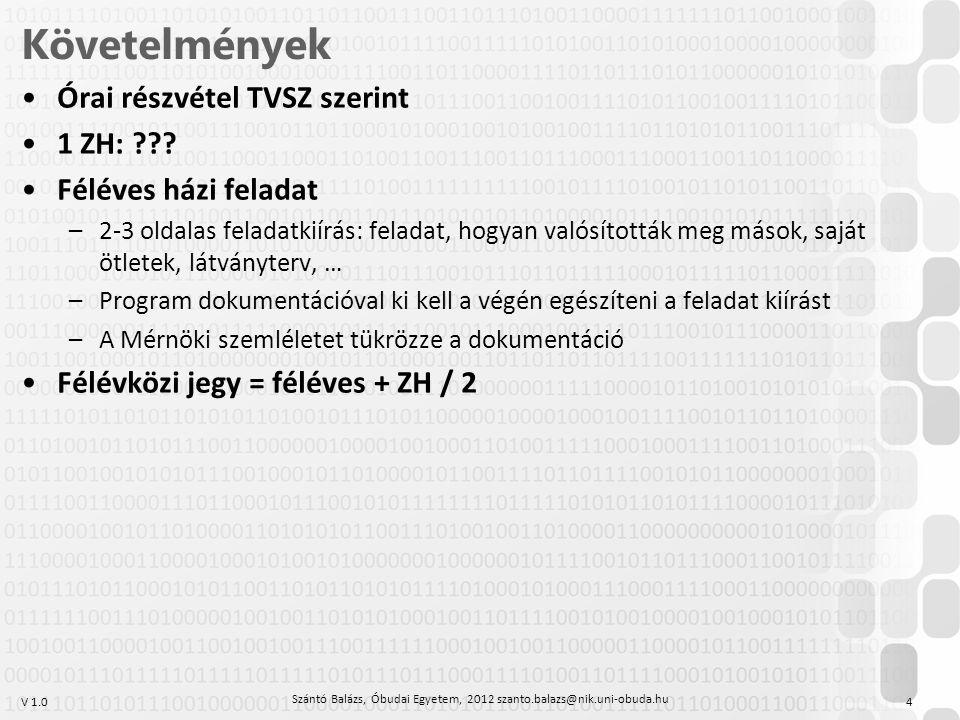 Szántó Balázs, Óbudai Egyetem, 2012 szanto.balazs@nik.uni-obuda.hu