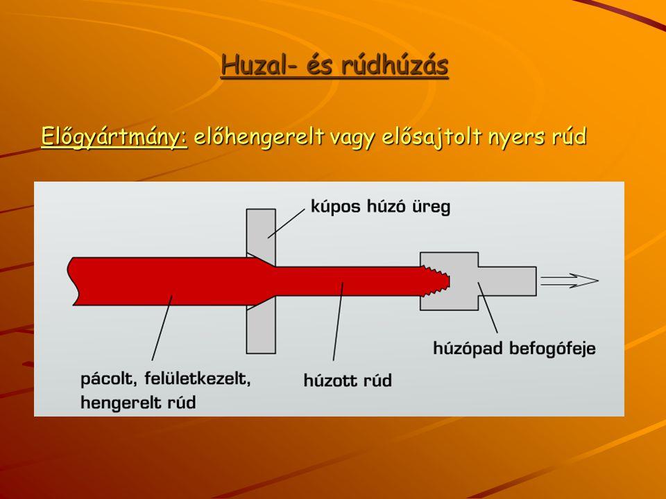 Huzal- és rúdhúzás Előgyártmány: előhengerelt vagy elősajtolt nyers rúd