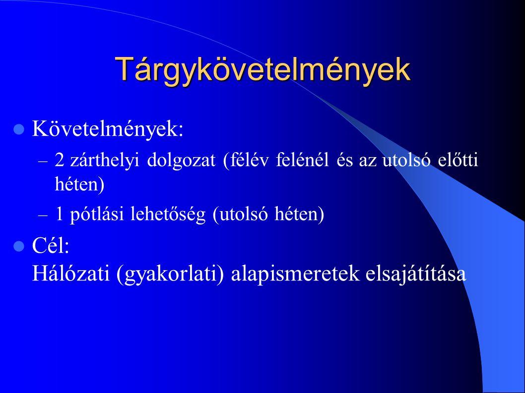 Tárgykövetelmények Követelmények: