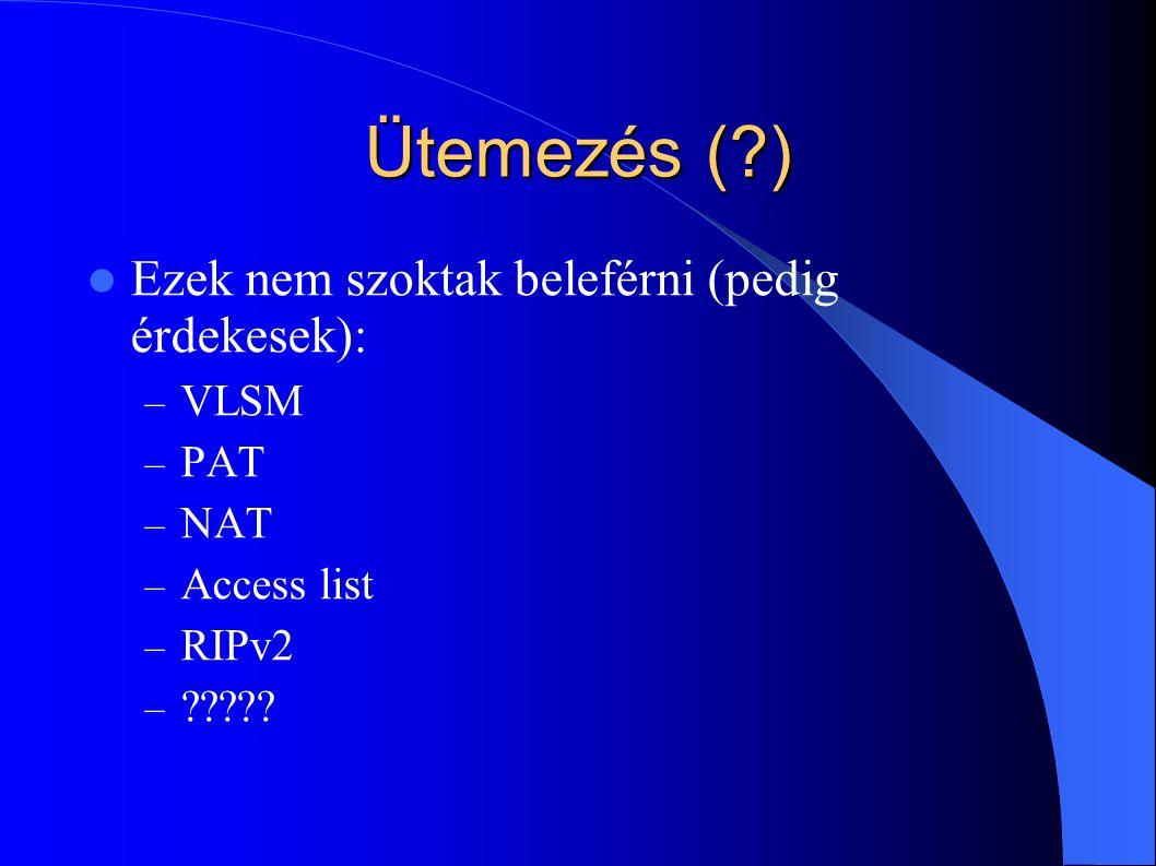 Ütemezés ( ) Ezek nem szoktak beleférni (pedig érdekesek): VLSM PAT
