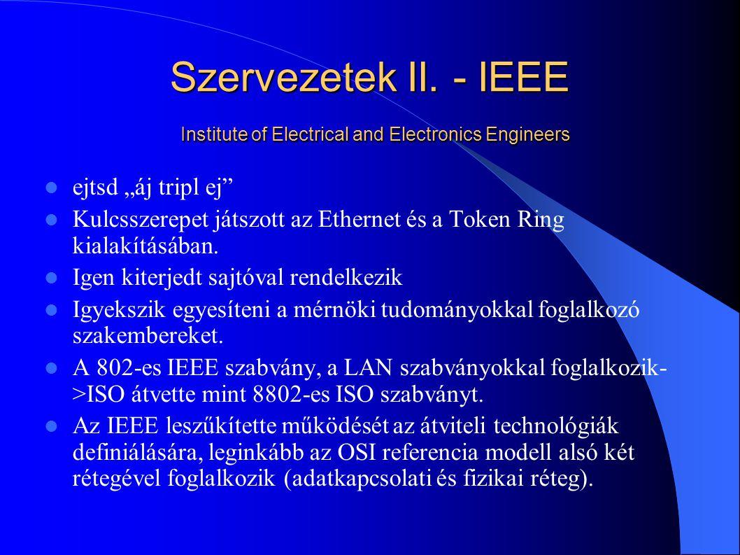 Szervezetek II. - IEEE Institute of Electrical and Electronics Engineers