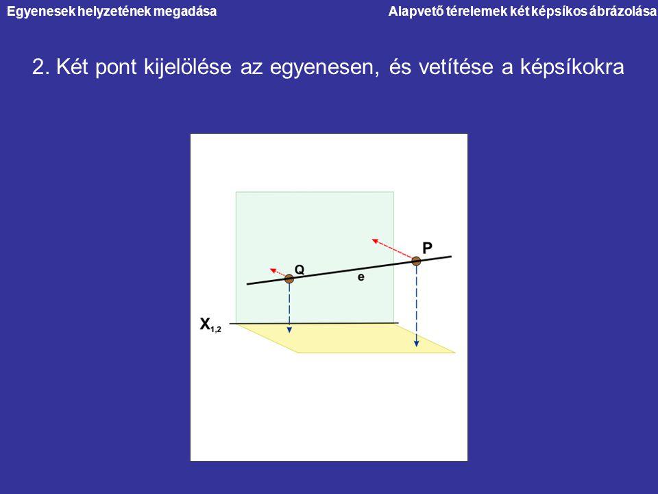 2. Két pont kijelölése az egyenesen, és vetítése a képsíkokra