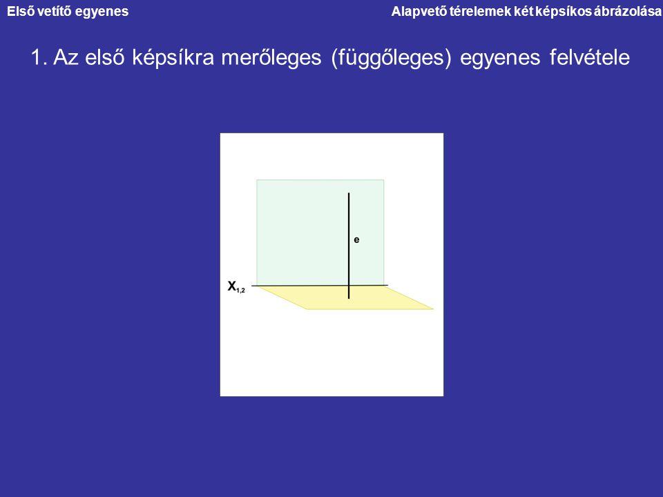 1. Az első képsíkra merőleges (függőleges) egyenes felvétele