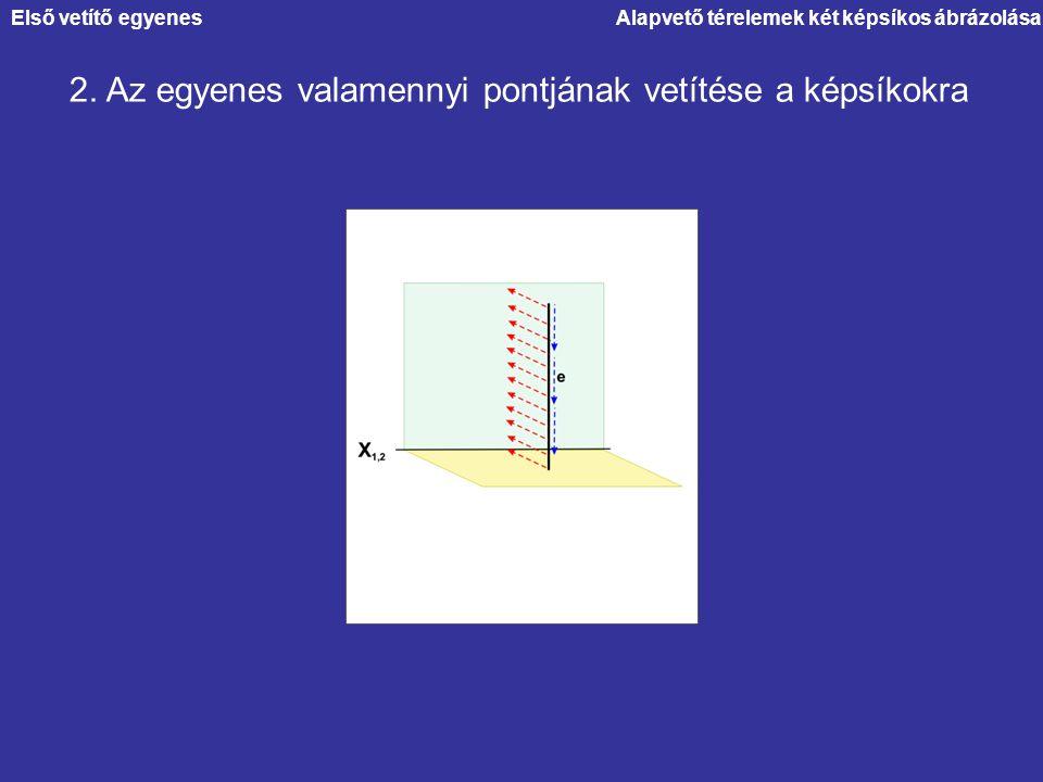 2. Az egyenes valamennyi pontjának vetítése a képsíkokra