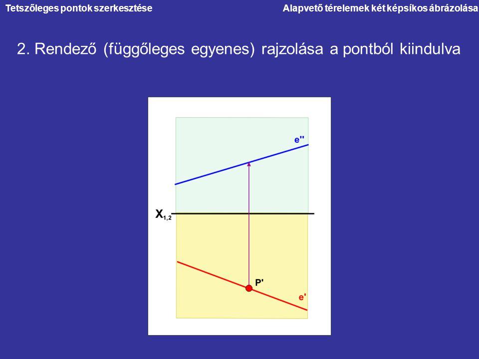 2. Rendező (függőleges egyenes) rajzolása a pontból kiindulva