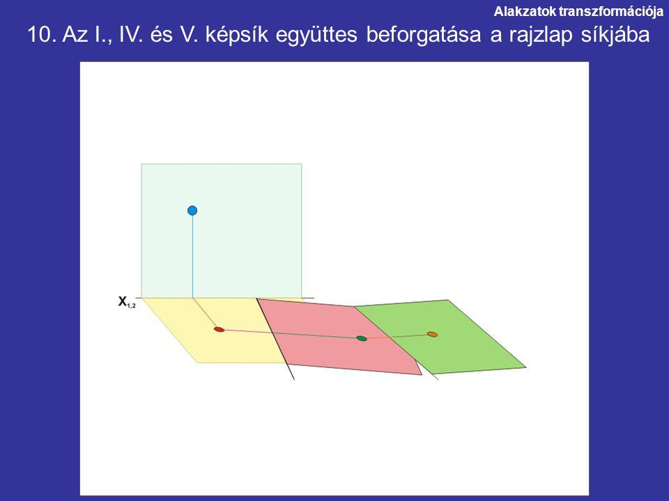 10. Az I., IV. és V. képsík együttes beforgatása a rajzlap síkjába