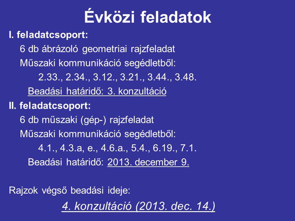 Évközi feladatok 4. konzultáció (2013. dec. 14.) I. feladatcsoport: