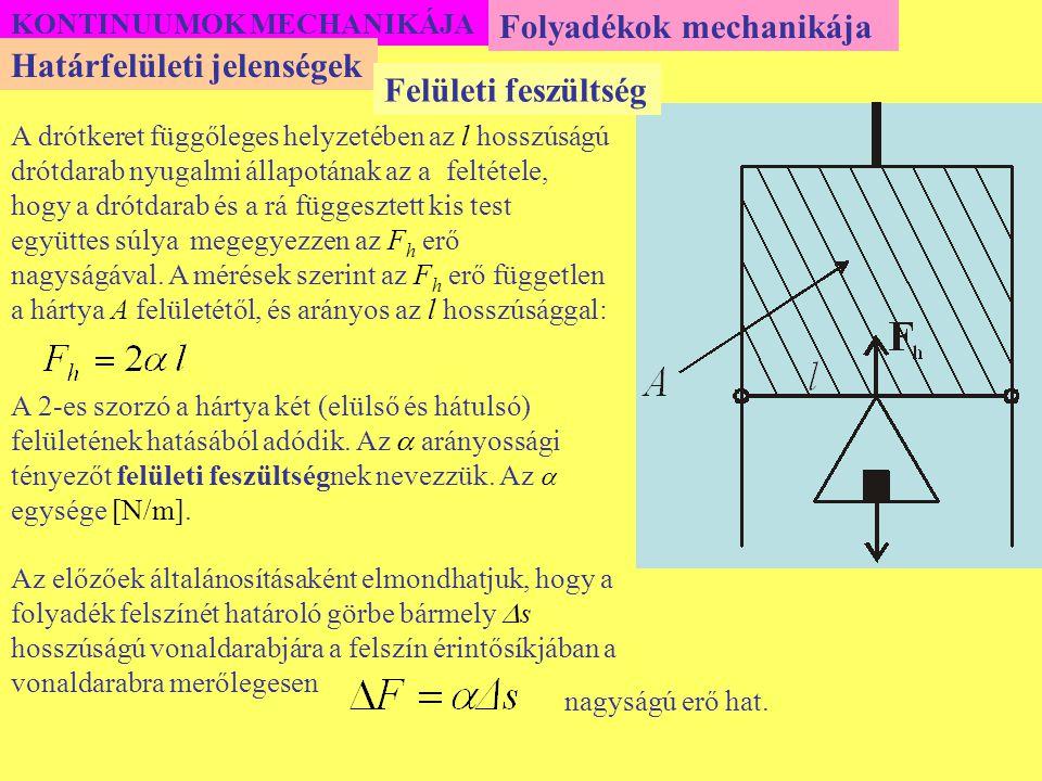 Folyadékok mechanikája Határfelületi jelenségek Felületi feszültség