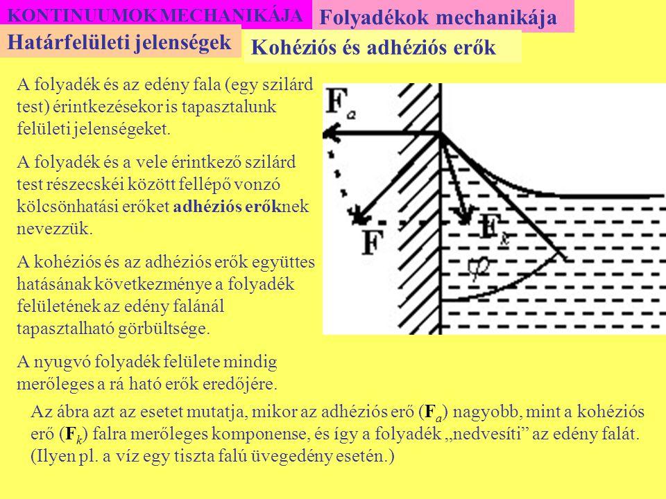Folyadékok mechanikája Határfelületi jelenségek