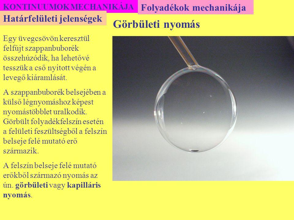 Görbületi nyomás Folyadékok mechanikája Határfelületi jelenségek