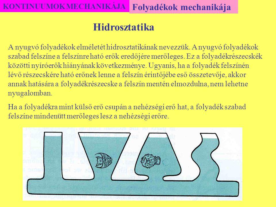 Hidrosztatika Folyadékok mechanikája KONTINUUMOK MECHANIKÁJA