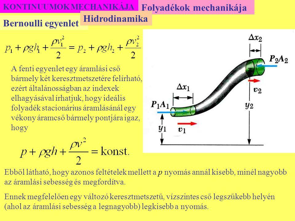 Folyadékok mechanikája Hidrodinamika Bernoulli egyenlet