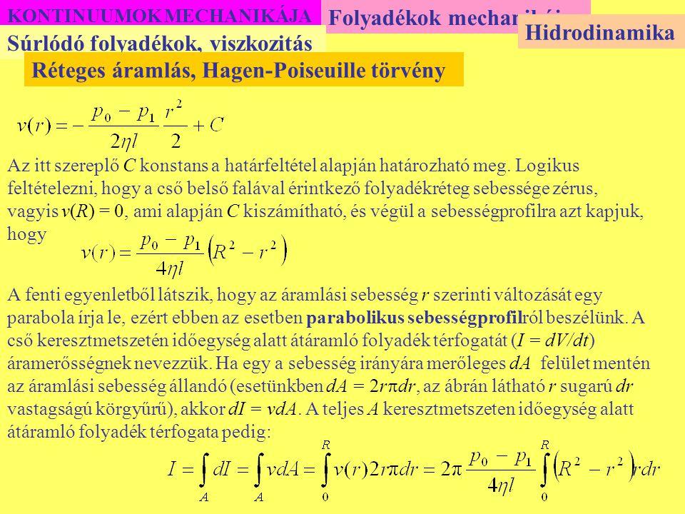 Folyadékok mechanikája Hidrodinamika Súrlódó folyadékok, viszkozitás