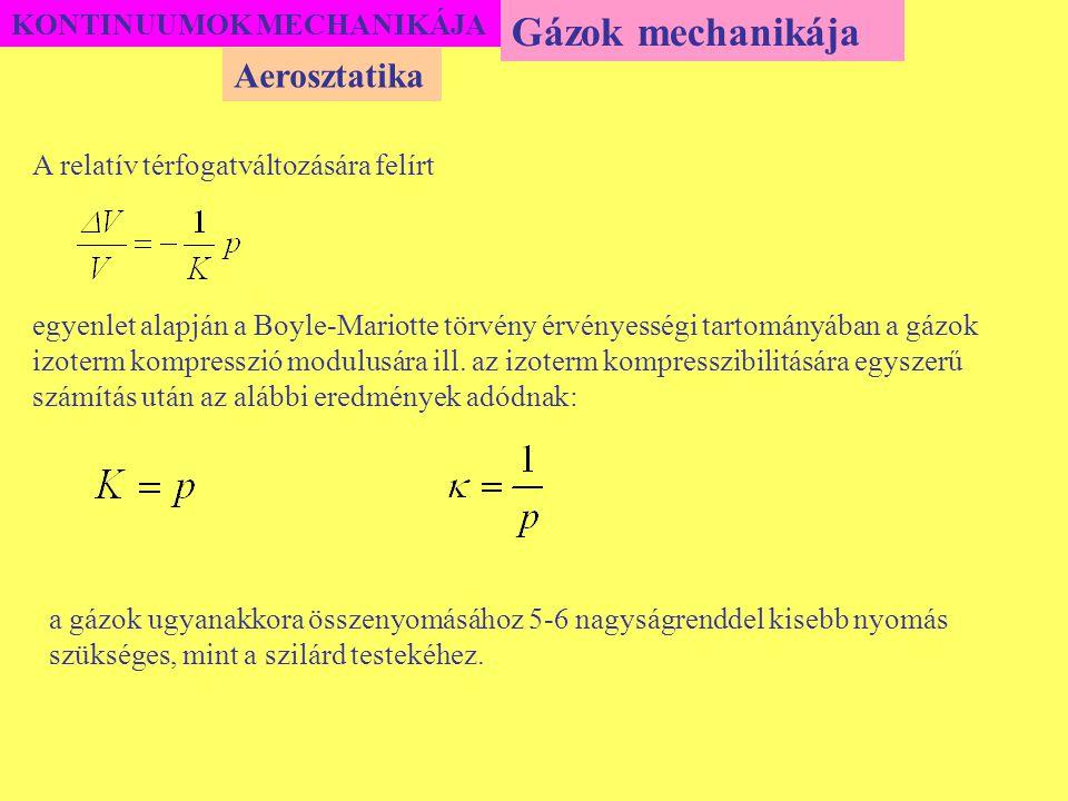 Gázok mechanikája Aerosztatika KONTINUUMOK MECHANIKÁJA