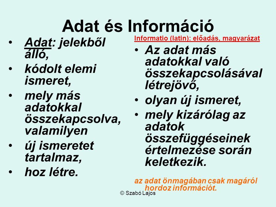 Adat és Információ Adat: jelekből álló,
