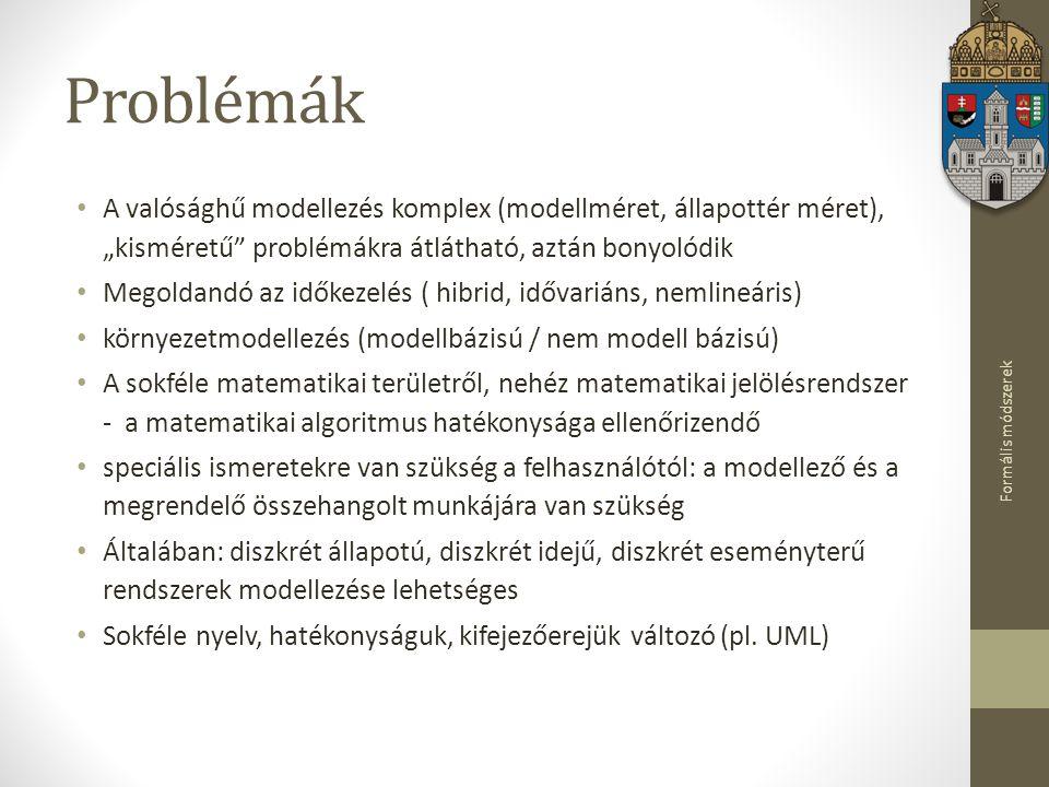 """Problémák A valósághű modellezés komplex (modellméret, állapottér méret), """"kisméretű problémákra átlátható, aztán bonyolódik."""