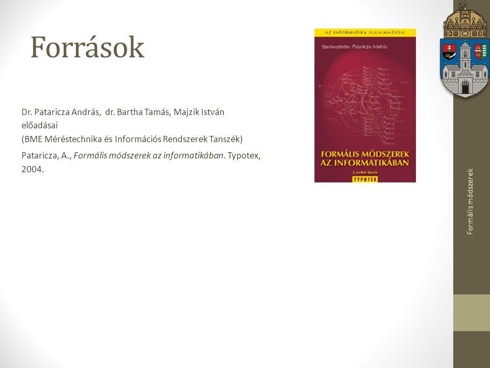 Források Dr. Pataricza András, dr. Bartha Tamás, Majzik István előadásai (BME Méréstechnika és Információs Rendszerek Tanszék)