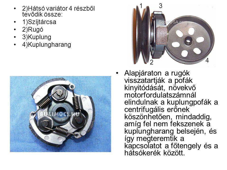 1 3. 2)Hátsó variátor 4 részből tevődik össze: 1)Szíjtárcsa. 2)Rugó. 3)Kuplung. 4)Kuplungharang.