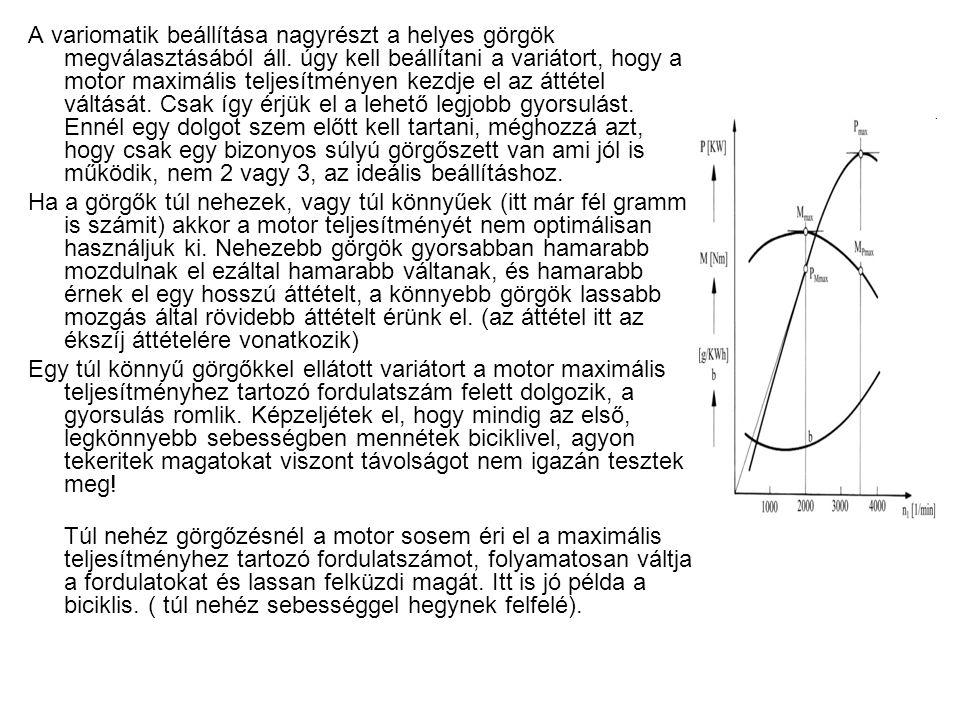 A variomatik beállítása nagyrészt a helyes görgök megválasztásából áll