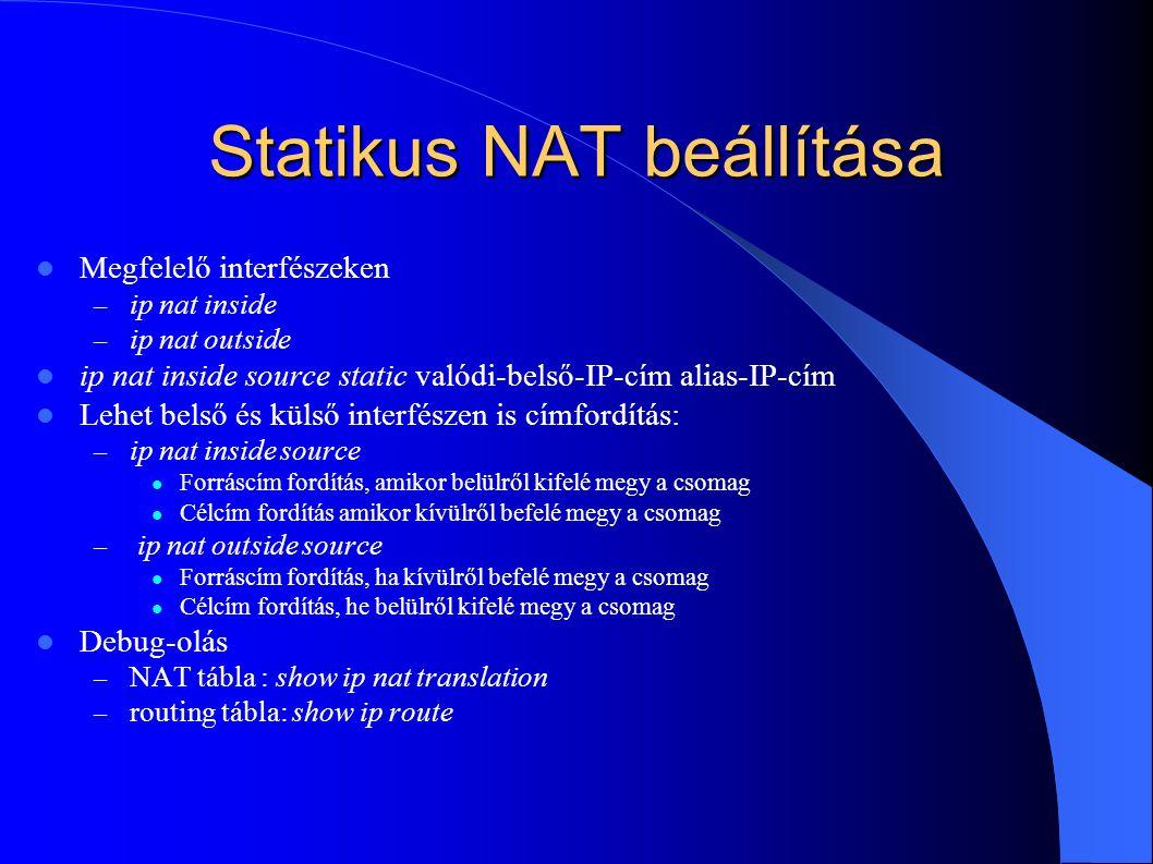 Statikus NAT beállítása