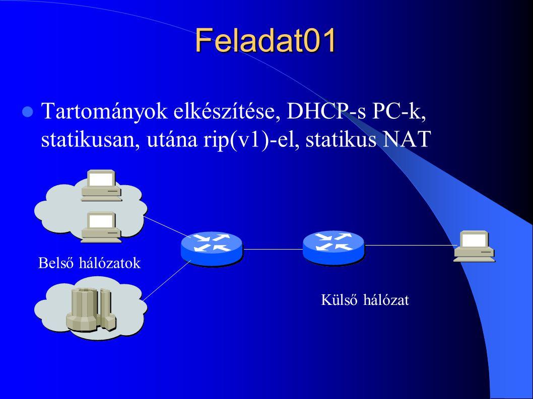 Feladat01 Tartományok elkészítése, DHCP-s PC-k, statikusan, utána rip(v1)-el, statikus NAT. Belső hálózatok.