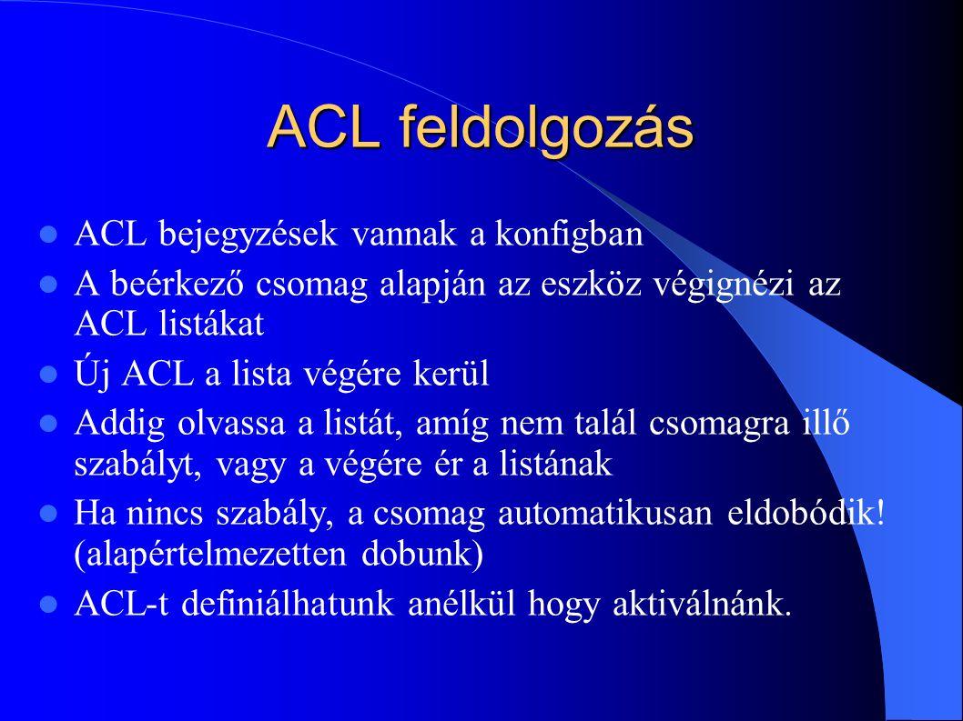 ACL feldolgozás ACL bejegyzések vannak a konfigban