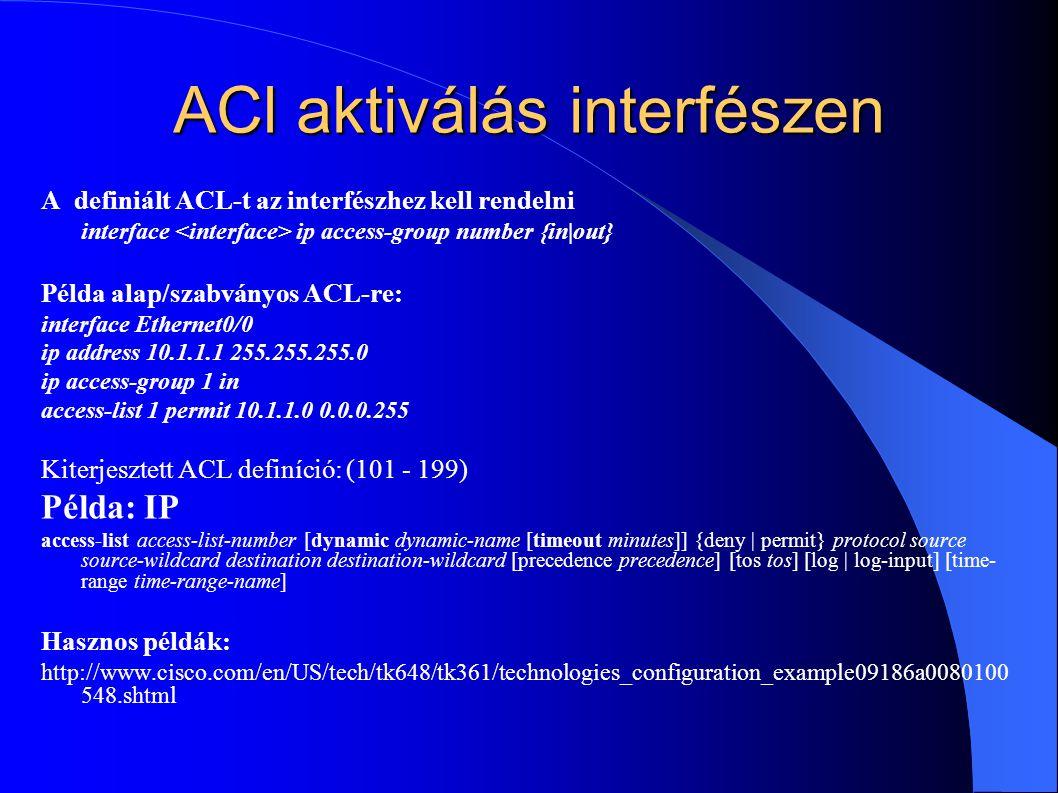 ACl aktiválás interfészen