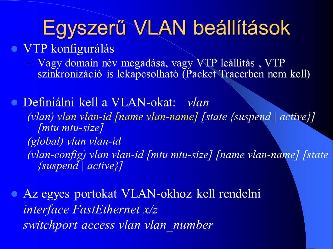Egyszerű VLAN beállítások