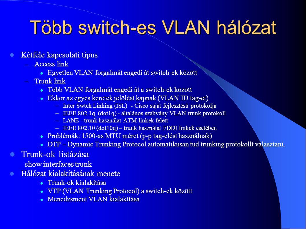 Több switch-es VLAN hálózat