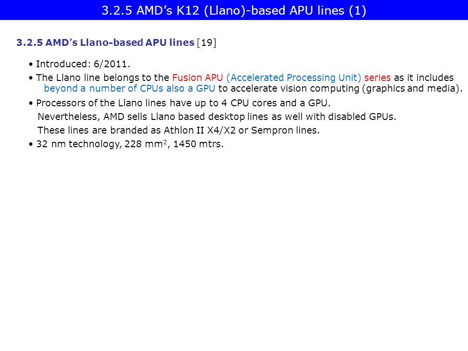 3.2.5 AMD's K12 (Llano)-based APU lines (1)