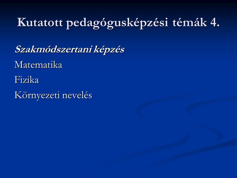 Kutatott pedagógusképzési témák 4.