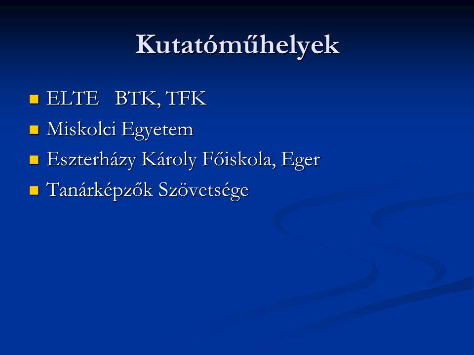 Kutatóműhelyek ELTE BTK, TFK Miskolci Egyetem