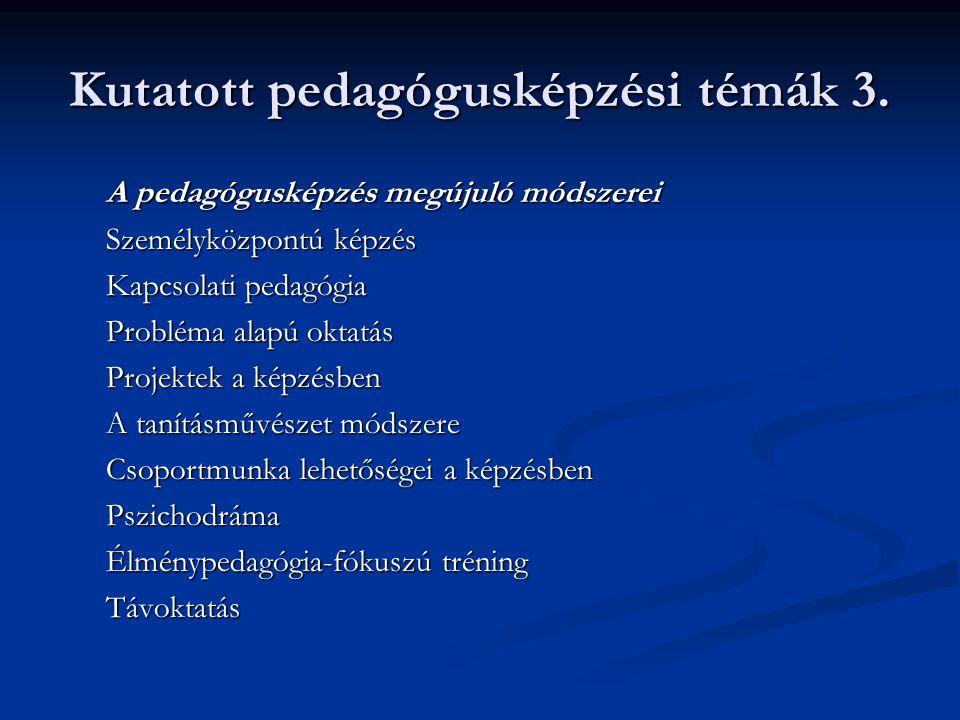 Kutatott pedagógusképzési témák 3.