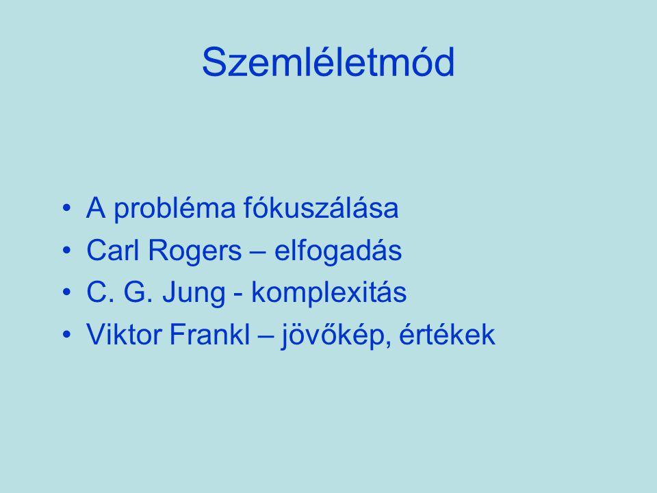 Szemléletmód A probléma fókuszálása Carl Rogers – elfogadás