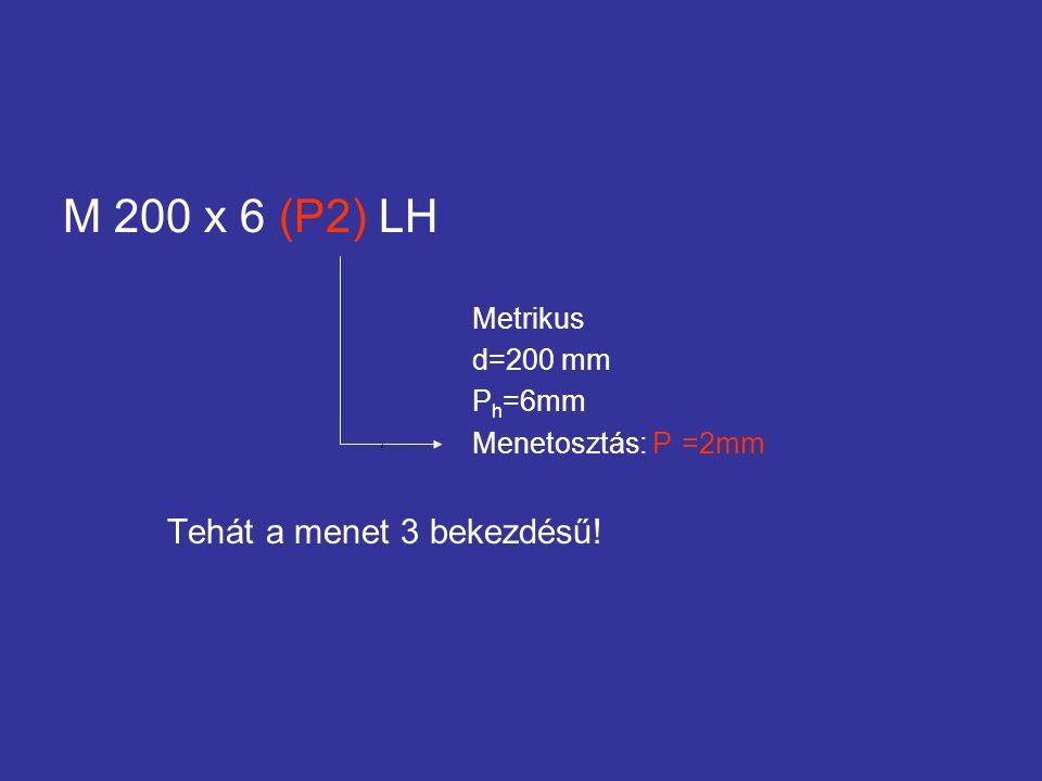 M 200 x 6 (P2) LH Tehát a menet 3 bekezdésű! Metrikus d=200 mm Ph=6mm