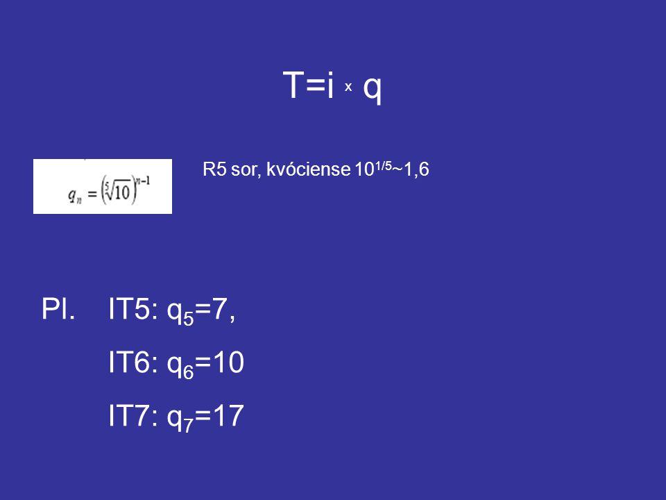 T=i x q Pl. IT5: q5=7, IT6: q6=10 IT7: q7=17
