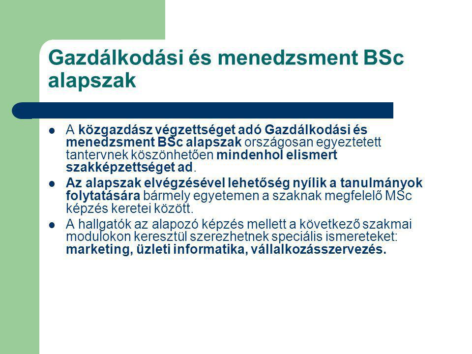 Gazdálkodási és menedzsment BSc alapszak