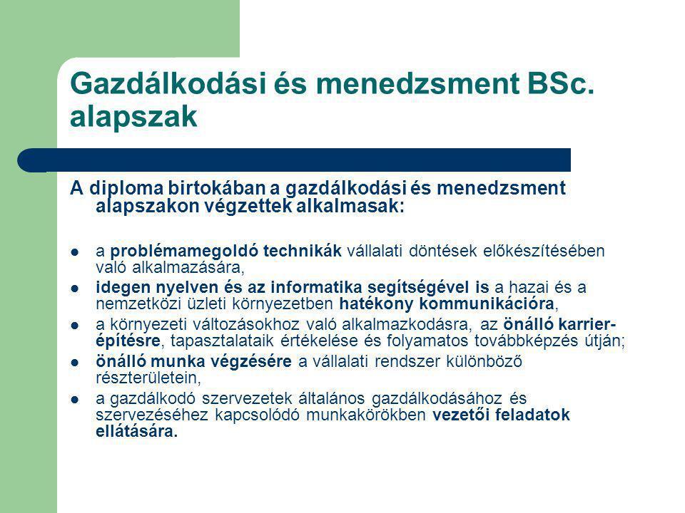 Gazdálkodási és menedzsment BSc. alapszak