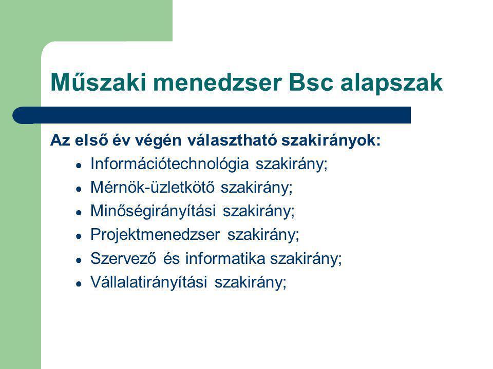 Műszaki menedzser Bsc alapszak