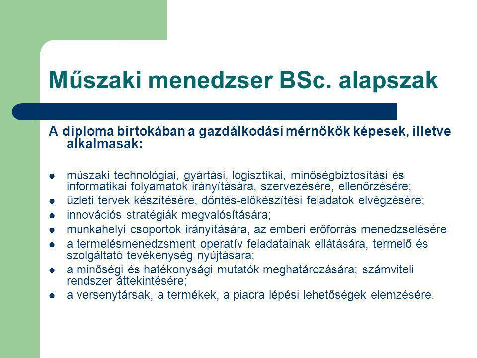Műszaki menedzser BSc. alapszak