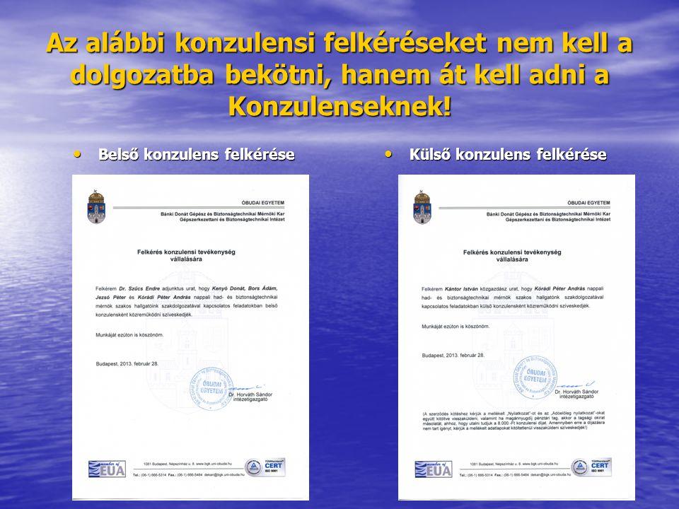 Belső konzulens felkérése Külső konzulens felkérése