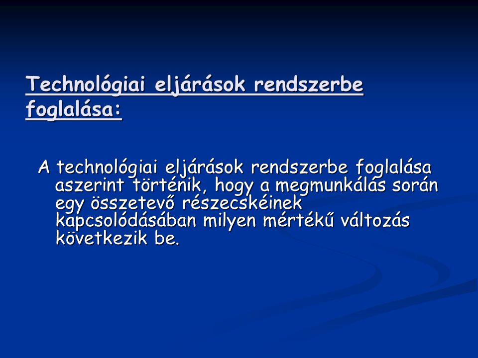 Technológiai eljárások rendszerbe foglalása: