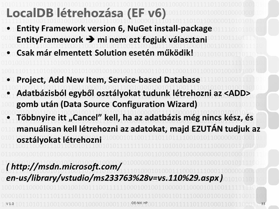 LocalDB létrehozása (EF v6)
