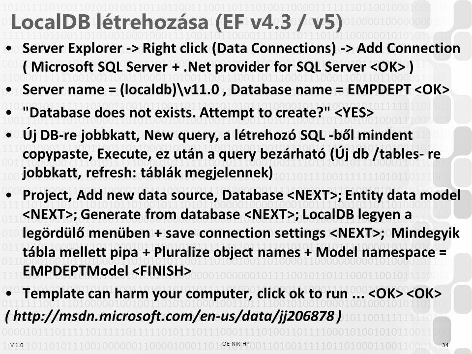 LocalDB létrehozása (EF v4.3 / v5)