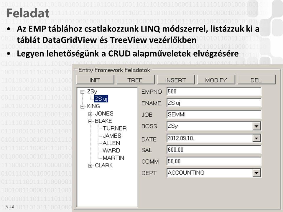Feladat Az EMP táblához csatlakozzunk LINQ módszerrel, listázzuk ki a táblát DataGridView és TreeView vezérlőkben.